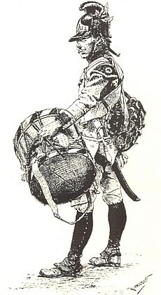Bubeník rakouské císařské armády z doby napoleonských válek na kresbě Rudolfa Otto rytíře von Ottenfeld (1856-1913)