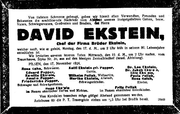 Parte jeho otce na stránkách renomovaného pražského německého listu uvádí mezi pozůstalými i jeho jméno s doktorským titulem
