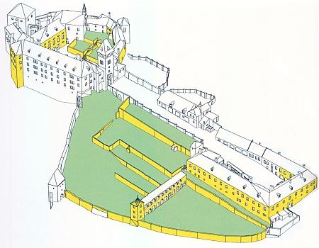 Vimperský zámek v modelu zaměření z roku 2009