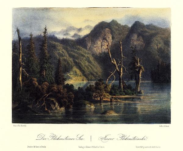 Plešné jezero na barevné litografii Augusta Hauna podle kresby Eduarda Herolda (1864)