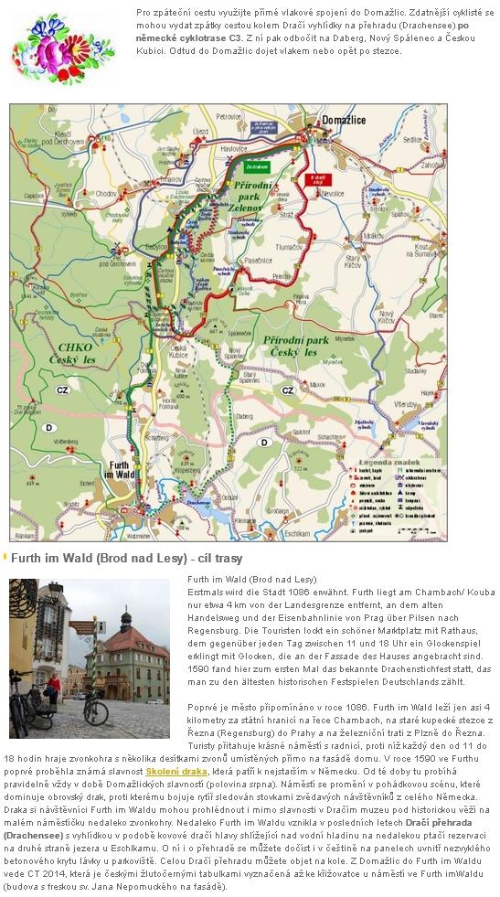 """Současné spojení Domažlic a """"Brodu nad Lesy"""" turistickými stezkami, cyklotrasami a vlakem"""