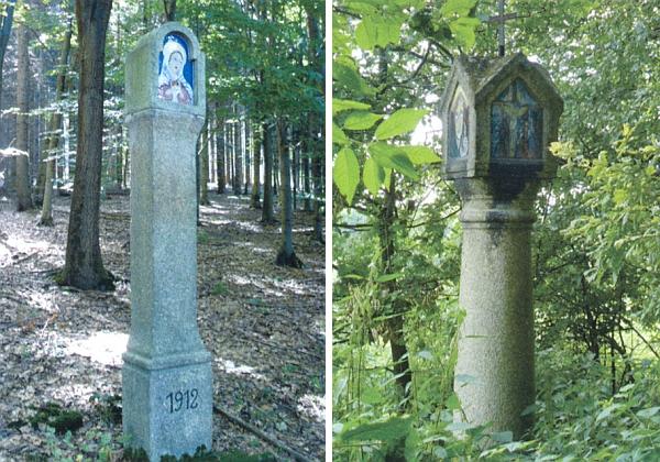 Opravená boží muka v lese nad Dlouhou Stropnicí a zaniklým dnes Bedřichovem