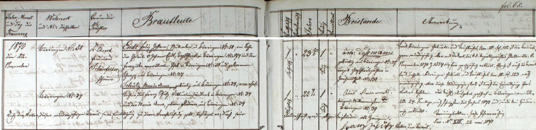 """Záznam o svatbě jeho rodičů v knize oddaných obce Pernink - ženich Felix Johann Endt, tkadlec obvazového mulu (v originále """"Mullweber"""", na stánce oddací matriky kolem je snad každý ze ženichů téže profese) v Perninku čp. 58, byl synem Johanna Endta, nádeníka v Perninku čp. 174 a vdovy Franzisky, provd. Pfobové, roz.  Schneppové z Perninku čp. 37, nevěsta Maria Anna Schützová byla pak dcerou Franze Schütze, obchodníka potravinami (v originále """"Viktualienhändler) v Perninku čp. 34 a Marie Anny, roz. Fladererové z Perninku čp. 34"""