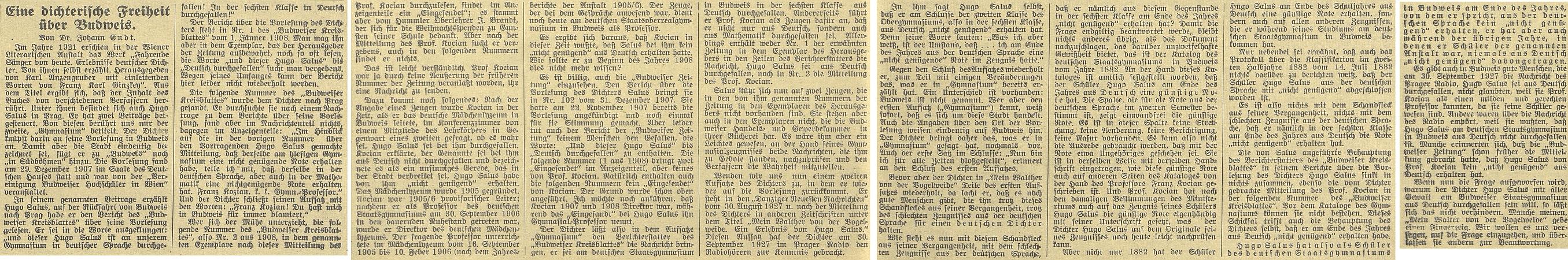 """Tady označil za """"básnickou licenci"""" tvrzení, že Hugo Salus kdysi propadl na budějovickém gymnáziu z němčiny"""