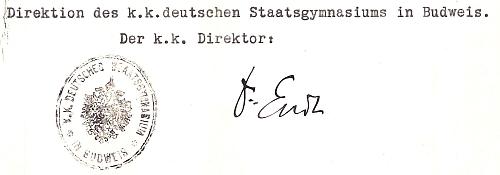 Jeho podpis na dokumentu českobudějovického německého gymnázia z roku 1918