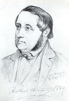 Jiný Stifterův portrét z roku 1849 pořídil rovněž Carl von Binzer a tato kresba od Aloise Raimunda Heina je pouhou jeho kopií