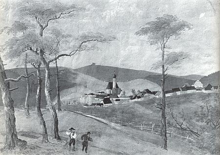 """Frymburk se """"vzdušně modrou"""" krychlí Vítkova hrádku v pozadí naStifterově akvarelu asi z roku 1829, dokazujícím, jak dominantním dojmem na něho romantická ruina od mládí působila"""