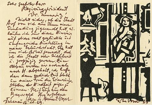 Jeho pozvánka (1969) na vlastní výstavu je adresována falckému premiérovi Dr. Emmerigovi a byla odeslána zFrauenau, jak o tom svědčí i les za okny umělcovy světnice na linorytu s jeho signaturou a datem