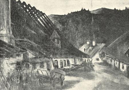 Černobílá reprodukce jeho olejomalby, zachycující starou sklářskou huť jménem Flanitzhütte (také Maierhütte) u Frauenau