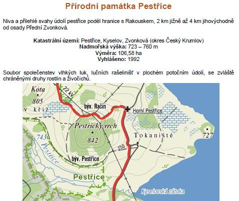 Mapa a charakteristika přírodní památky Pestřice