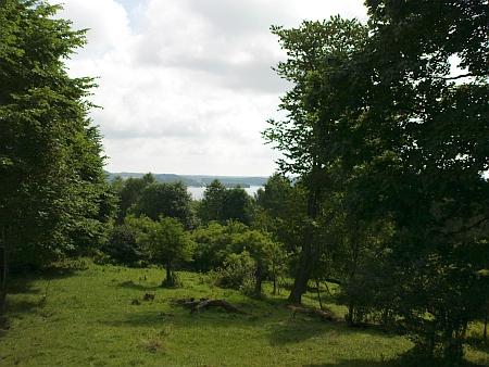 Pohled z Pestřického vrchu přes zaniklou Pestřici ke Kyselovské zátoce