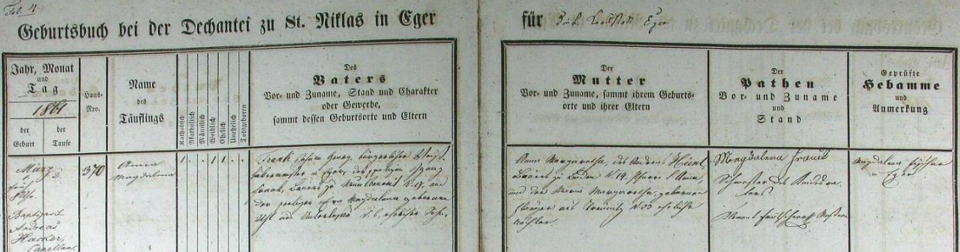 Záznam o narození jeho matky Anny Magdaleny, roz. Frankové, v chebské křestní matrice