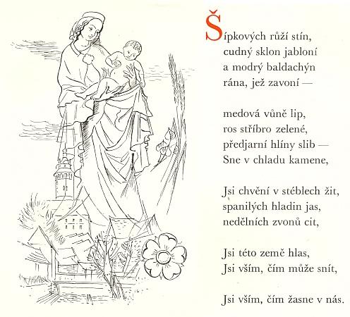 """Tato báseň Ladislava Stehlíka o Madoně krumlovské vyšla v roce 1944(!), kdy Krumlov náležel k """"Říši"""", v jeho sbírce """"Madoně"""" u nakladatele Františka Borového, provázena kresbou Aloise Moravce"""