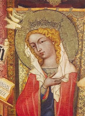 Detail a celek obrazu Zvěstování Panny Marie z cyklu Mistra vyšebrodského, jehož na svou dobu dokonalé černobílé reprodukce byly rovněž součástí Ernstovy knihy z roku 1912 - snad stojí za zmínku, že Matka Boží je na nich světlovlasá