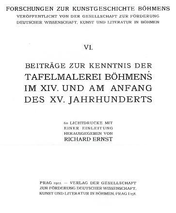 Titulní list (1912) jeho knihy o gotické deskové malbě vČechách