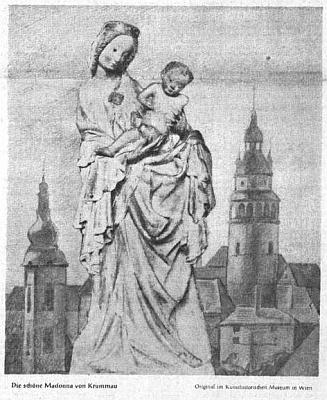 Tady se ocitla Madona krumlovská na prvé stránce ústředního listu vyhnaných krajanů roku 1953 hned vedle úvodníku Rudolfa Lodgmana von Auen o devátých Vánocích mimo domov...