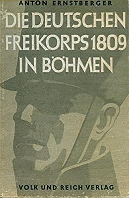 """Obálka (1942, Volks und Reich Verlag) jeho knihy o německých """"Freikorps"""" z roku 1809 v Čechách"""