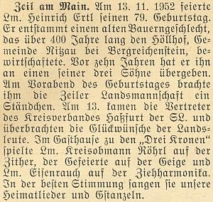 Přesné datum narození Heinricha Ertla staršího lze vyčíst i z této zprávy krajanského měsíčníku vjeho prosincovém čísle z roku 1952