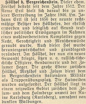 Zpráva o stavu Höllhofu a okolí v roce 1955 na stránkách krajanského měsíčníku