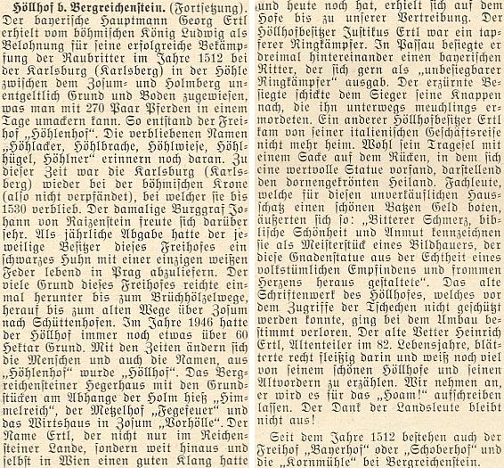 Z dějin Höllhofu, od roku 1512 v majetku rodu Ertlova