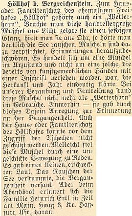 """O mušli, ve které na statku """"Peklo"""" zaznívalo kdysi moře, Heinrich Ertl poslal do krajanského měsíčníku v roce 1956 tento nepodepsaný text"""
