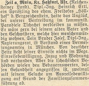 """O pokusech Heinricha Ertla mladšího získat souhlas k vycestování z komunistického """"ráje"""" ve zprávě krajanského měsíčníku z roku 1957"""