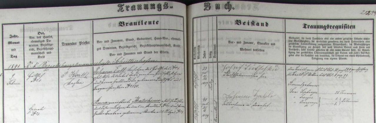 Záznam kašperskohorské matriky o svatbě, konané ve zdejším kostele sv. Markéty dne 9. února roku 1891 - ženich Johann Ertl, 11. prosince 1857 narozený majitel statku Peklo čp. 1, syn Jakoba Ertla, předchozího vlastníka téže usedlosti, hospodařícího na ní dříve se svou ženou Julií, roz. Tutschku z Kašperských Hor čp. 130, bere si tu za manželku Annu, ovdovělou Matschinerovou, 21. června roku 1849 narozenou dceru sedláka Johanna Ketzera ze Žlíbku (Rindlau) čp. 1 a  jeho ženy Barbary, roz. Winterové z Nicova čp. 8