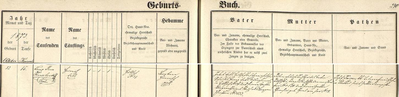 Podle tohoto záznamu kašperskohorské křestní matriky se Heinrich Ertl starší narodil dne 13. listopadu roku 1873 na statku Höllhof čp. 1 a dva dny nato byl v kostele sv. Markéty v Kašperských Horách i pokřtěn zdejším kaplanem Franzem Xaverem Hirnschradtem - chlapcův otec a hospodář na jeho rodném statku Jakob Ertl byl synem výminkáře v Höllhofu čp. 6 Franze Ertla a Margarethy, roz. Stachové z Kašperských Hor čp. 133, matka dítěte Julia byla dcerou kašperskohorského řezníka Antona Tutschku z čp. 130 a Theresie, roz. Sperlové rovněž z Kašperských Hor čp. 8 - kmotry byli Josef Koizar, c.k. telegrafní dozorce v Klatovech, a jeho žena Franziska