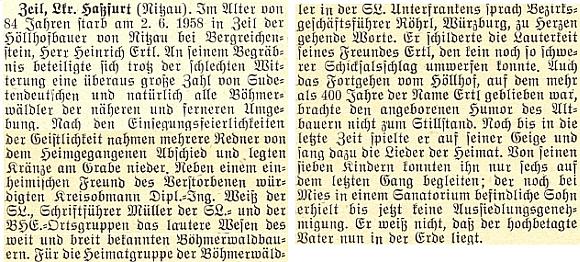 Zpráva o úmrtí a pohřbu Heinricha Ertla staršího dne 2. června 1958 na stránkách krajanského měsíčníku