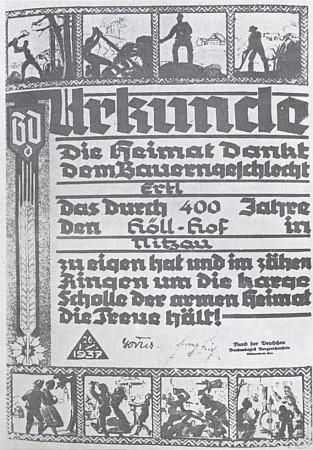 Listina udělená spolkem Bund der Deutschen v Československu roku 1937 selskému rodu Ertlových za 400 let věrnosti statku Höllhof