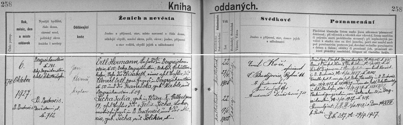 Záznam o svatbě jeho rodičů v českobudějovické oddací matrice
