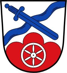 Znak obce Johannesberg v bavorských Dolních Frankách, kde trávil se svou ženou Anitou sklonek života