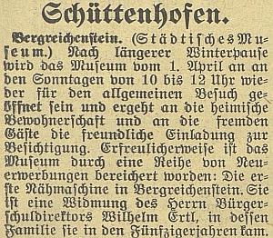 V roce 1931 věnoval kašperskohorskému muzeu první zdejší šicí stroj, který se do jeho rodiny dostal v polovině 19. století