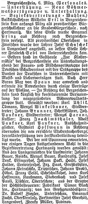 """Zprávu o jeho přemístění do Hartmanic v roce 1910 provází v plzeňském německém listu i referát o tom, že baron Max von Spaun zahrál na zábavném večeru v kašperskohorském hostinci """"U Klášterského Mlýna"""" na housle"""
