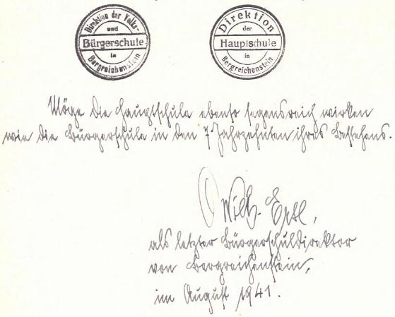 Jeho podpis jako posledního ředitele německé měšťanské školy v Kašperských Horách ze srpna roku 1941
