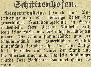 Zpráva o jeho rezignaci na vedení živnostenské pokračovací školy vroce 1933