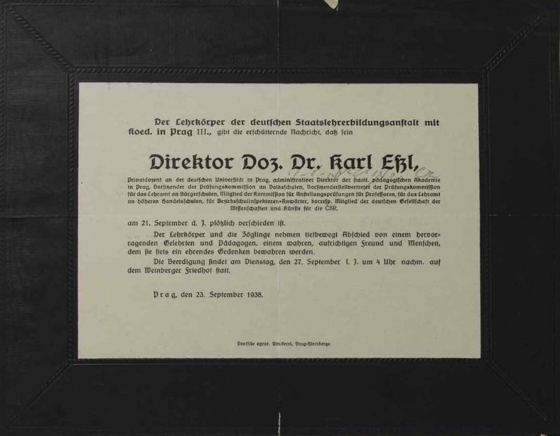 Parte a nekrolog ze stránek kroniky německého učitelského ústavu v Českých Budějovicích
