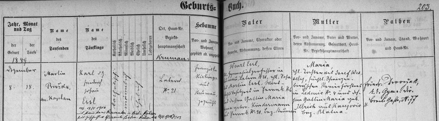 Záznam o jeho narození v českokrumlovské matrice: otec Wenzl Essl, c.k. gymnaziální profesor, bytem na Latráně čp.21, byl synem Martina Essla, majitele hospodářství v Perneku čp. 6 a jeho choti Marie, roz. Kindermannové zPerneku čp. 21. novorozencova matka Maria byla dcerou Josefa Wesselyho, knížecího schwarzenberského revírníka v Ledenicích čp. 4 a jeho choti Marie, roz. Ulrichové z Kasejovic, okr. Blatná - kmotrem dítěte byl při křtu deset dní poté, co se narodilo, Friedrich Dworžak, vyučující na c.k. českokrumlovském německém gymnáziu - pozdější přípis nás pak ještě zpravuje o svatbě Karla Friedricha Johanna Essla, jak byl pokřtěn, v srpnu roku 1916 s Marií Annou Rieseneckerovou z Českých Žlebů