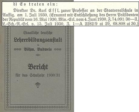 Zpráva o jeho vstupu do pedagogického sboru německého učitelského ústavu     v Českých Budějovicích k 1. červenci roku 1930