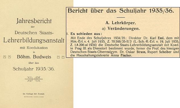 Záznam o jeho odchodu z Českých Budějovic do Prahy na konci školního roku 1934/35 ve výroční zprávě německého učitelského ústavu