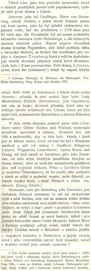 """Začátek pasáže o Guolfingerovi a jeho dramatu """"Libusse"""" (1779) vproslulé práci Arnošta Krause prozrazuje, že údaje o dramatikově životě jsou spíše vzácné"""