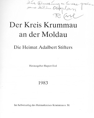 Vazba a titulní list jeho knihy s vlastnoručním věnováním (vydavatel Heimatkreises Krummau a. M.)