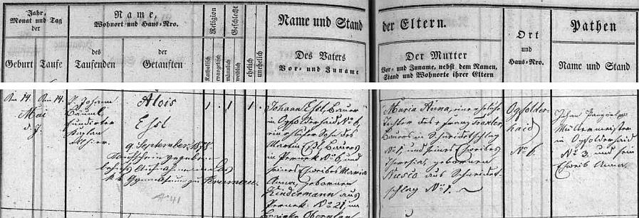 Záznam v jablonecké matrice o jeho narození (a křtu téhož dne) otci Johannu Eßlovi z Jablonce čp. 6 (i děd Martin Eßl byl usedlý na tomto stavení), jehož matka pocházela z Perneku, maminkou dítěte právě pokřtěného byla pak Maria Anna, roz. Traxlerová, původem zVeselí (Schneidetschlag), dnes zcela zaniklé vsi blízko rovněž zaniklého Jablonce