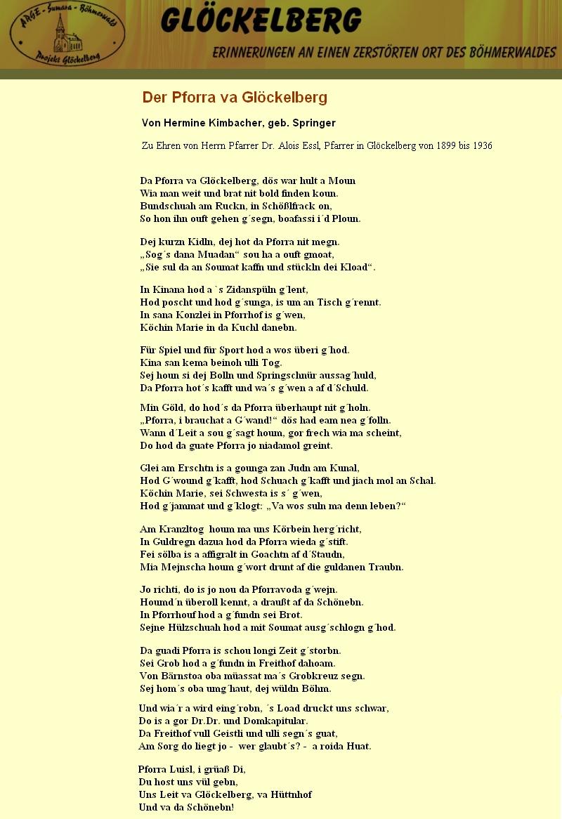Nářeční báseň Hermine Kimbacherové o něm na stránkách Glöckelberg.at
