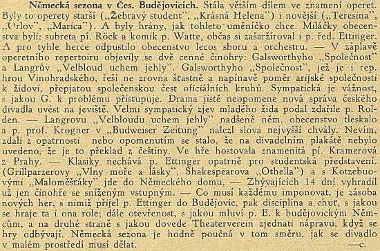 Pochvalný hlas z české strany (autorem článku je Bohumír Borkovec /1889-1949/) platí tadyijemu