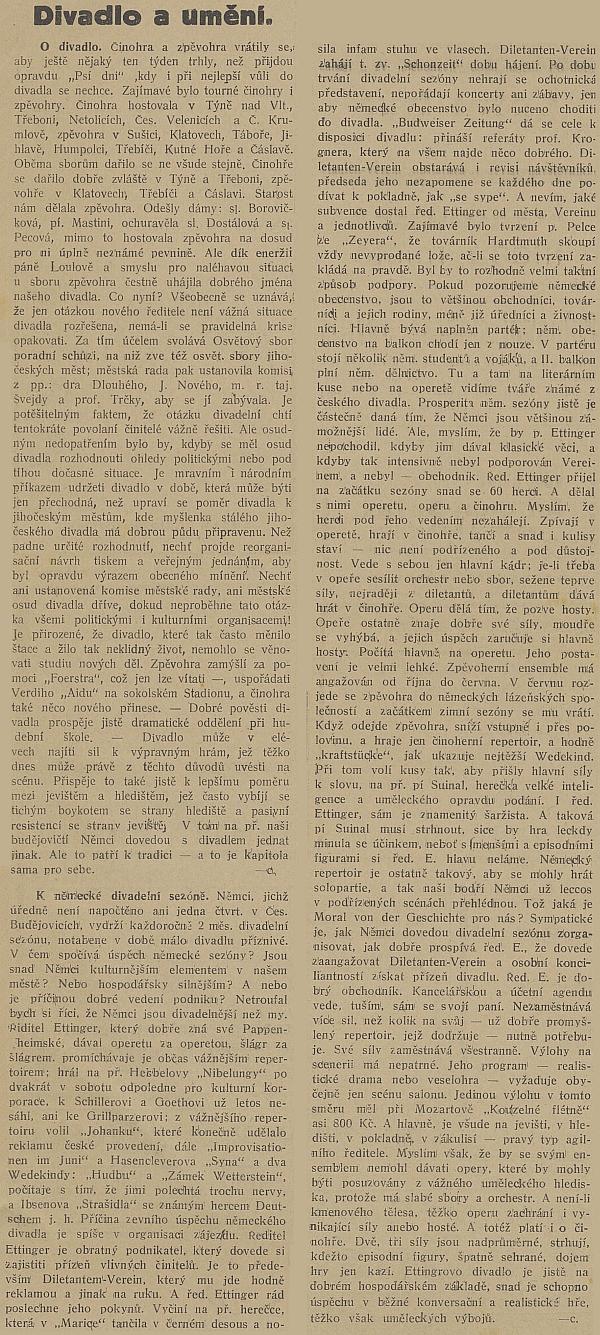 """Článek českého listu """"Republikán"""" hodně vypovídá o dobových divadelních poměrech"""