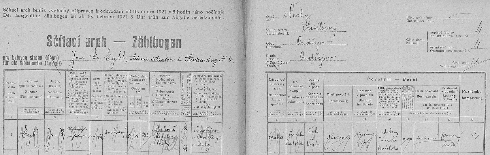 Arch sčítání lidu z roku 1921 svědčí o jeho ondřejovském působení