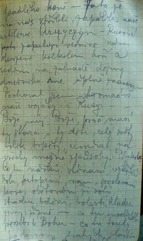 Stránka z jeho válečného deníku