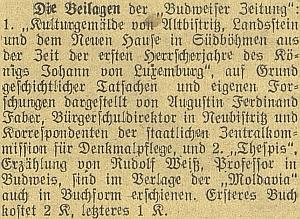 Zpráva o jeho práci, vydané jako příloha českobudějovického německého listu vroce 1920