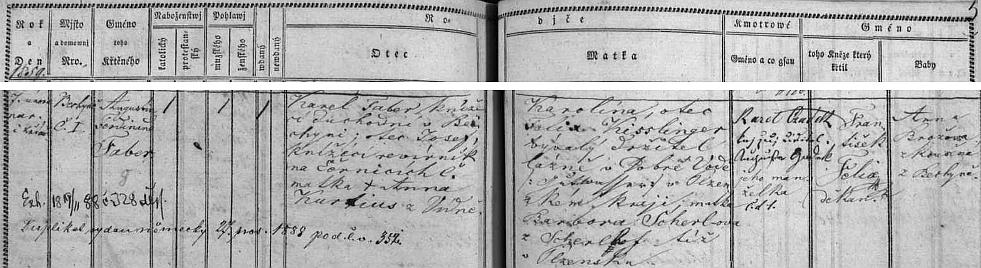 Podle záznamu v bechyňské matrice se narodil v č. 1, tj. na zámku, paarovskému knížecímu důchodnímu Karlu Faberovi (psal se česky Karel Faber ajeho otec byl revírníkem v Černické oboře blízko Bechyně) a jeho ženě Karolíně, roz. Kisslingerové, která měla oba rodiče ze Šumavy (Dobrá Voda uHartmanic a blízký Šerlův dvůr, dnes ovšem zaniklý)